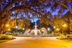 Парк Forsyth в саванне, GA Стоковое Изображение