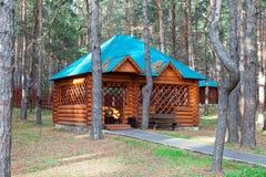 парк gazebo деревянный Стоковая Фотография