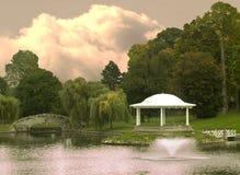 парк gazebo сценарный стоковая фотография