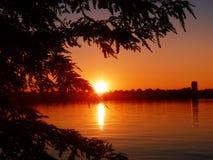 Парк Herastrau захода солнца в Бухаресте Стоковые Фото