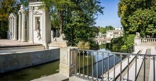 Парк Lazienki, дворец на воде в Варшаве, Польше Стоковое фото RF