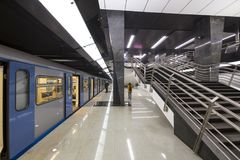 Парк Petrovsky станции метро -- станция на линии Kalininsko-Solntsevskaya метро Москвы, России Стоковая Фотография