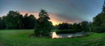 Парк Schloss Babelsberg захода солнца Стоковая Фотография