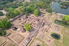 Парк Sukhothai исторический в Sukhothai, Таиланде вид с воздуха Стоковая Фотография