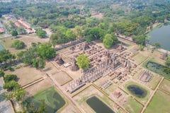 Парк Sukhothai исторический в Sukhothai, Таиланде вид с воздуха стоковые фото