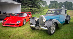 Парк Syon, выставка автомобиля Ferarri спорт Prive салона Лондона супер, Zonda, BMW, изогнуто, Bugatti, Lister, лотос, альфа стоковые фотографии rf
