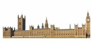 Парламент Великобритании в Лондоне изолировал над белизной стоковые изображения rf