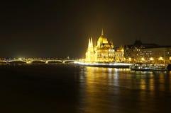парламент ночи budapest венгерский Стоковое Фото