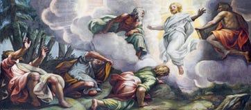 ПАРМА, ИТАЛИЯ - 16-ОЕ АПРЕЛЯ 2018: Фреска Transfiguration на держателе Таборе в Duomo Lattanzio Gambara 1567 до 1573 Стоковые Фотографии RF