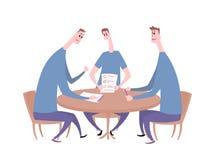 Парни дерева имея переговор на таблице Деловая встреча, собеседование для приема на работу, переговоры Плоская иллюстрация вектор иллюстрация штока