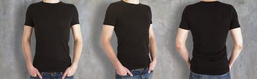 Парни нося пустую черную рубашку стоковые изображения rf