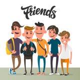 Парни шаржа, 5 лучших другов, характеры студента иллюстрация штока
