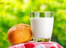 Парное молоко и хлеб на предпосылке природы стоковые изображения rf