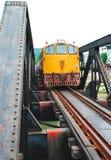 Паровоз красного померанцового поезда тепловозный Стоковое Изображение