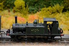 Паровой двигатель выдержанный зеленым цветом с поездом модели водителя Стоковое фото RF