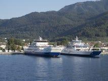 Паром от Thassos к Keramoti, Греции Стоковые Изображения