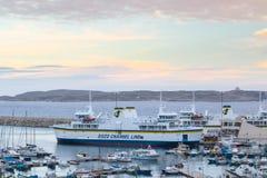 Паром Gozo на гавани Mgarr, Мальте Стоковые Изображения RF