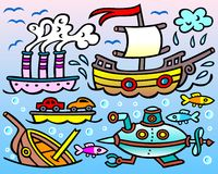 Пароход, парусник, крах, подводная лодка и 3 любознательных рыбы Стоковое Фото