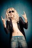 Пародийность рок-звезды тяжелого метала Стоковое Изображение