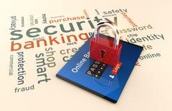Пароль и имя пользователя, покупки, деятельность банка на цифровой таблетке Стоковое Изображение