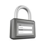пароль padlock имени пользователя 3d Стоковое Изображение