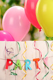 Партия. Воздушные шары против стоковое фото rf