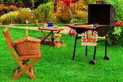 Партия гриля BBQ задворк лета или сцена пикника Стоковое Изображение