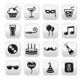 Партия, день рождения, Новый Год, установленные кнопки рождества Стоковая Фотография