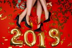 Партия друзей Нового Года и веселого рождества стоковые изображения