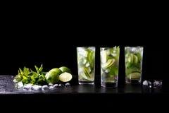 Партия лета Mojito освежая тропическое питье спирта коктеиля не в стекле с водой соды Стоковое фото RF