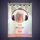 Партия звука плаката диско Стоковое Изображение RF