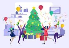 Партия зимних отдыхов карты корпоративная Веселое рождество и С Новым Годом! с характерами людей Компания молодой иллюстрация штока