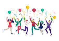 Партия зимних отдыхов карты корпоративная Веселое рождество и С Новым Годом! с характерами людей Компания молодой иллюстрация вектора