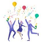 Партия зимних отдыхов карты корпоративная Веселое рождество и С Новым Годом! с характерами людей Компания молодой бесплатная иллюстрация