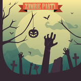 Партия зомби хеллоуина - концепция погоста Стоковые Изображения