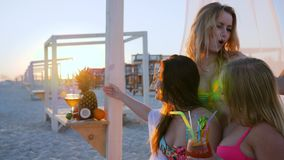 Партия коктеиля для друзей, backlight, партия пляжа на экзотическом курорте, женщина компании в тропиках, сток-видео