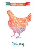 Партия курицы акварели бесплатная иллюстрация