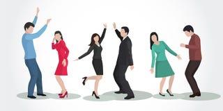 партия Люди и женщины танцев в красивых одеждах Стоковые Фото
