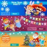 Партия масленицы рождества, приглашение утренника, 3 плаката с детьми в костюмах, Санта Клаусе Знамена Новый Год стоковые фотографии rf