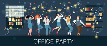 Партия офиса, масленица Нового Года, фестиваль, праздник Менеджеры празднуют рождество и Новый Год иллюстрация вектора