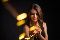 Партия, праздники, Новый Год или рождество и концепция торжества стоковые фотографии rf