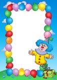 партия приглашения рамки 3 клоунов Стоковые Фотографии RF