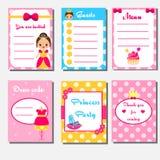 Партия принцессы ягнится собрание Шаблон установленного дизайна партии девушек детей Меню, список гостя, приглашение Стоковое Фото