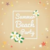 Партия пляжа лета, здравствуйте! предпосылка лета иллюстрация штока
