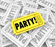 Партия снабжает годовщину билетами Inv дня рождения торжества специального события Стоковое фото RF