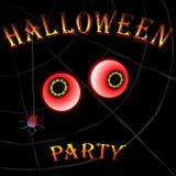 Партия с глазами, сеть паука хеллоуина на черной предпосылке Стоковая Фотография