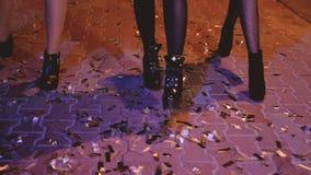 Партия улицы confetti прогулки ночи девушек под открытым небом видеоматериал