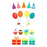 Партия установленная с воздушными шарами и пирожными иллюстрация вектора