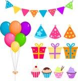 Партия установленная с воздушными шарами, настоящими моментами и пирожными иллюстрация штока