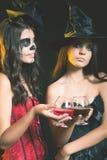 Партия 2016 хеллоуина! Женщины моды любят ведьма держа коктеиль Стоковое Изображение